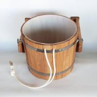 Ведро обливное устройство 20л из дуба с пластиковой  вставкой, клапаном  и цепочкой