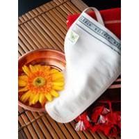 """Мочалка-рукавичка """"Кесе""""  с шелковой нитью для отслоения кожи на лице 162"""