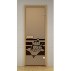 """Двери с матировкой """"Банный вечер""""(Бронза/Серая/Синяя).Габариты по коробке 690х1890 мм."""