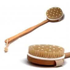 Щетка для тела №910 круглая с массажными шипами на длинной деревянной ркчке