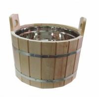 Шайка для бани из дуба 10л с нержавеющей вставкой ДЛТ9