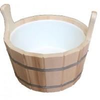 Шайка для бани из липы 12л с пластиковой вставкой ПЛ14