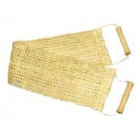 Мочалка широкая из сизаля мелкой вязки с деревянными ручками -0102