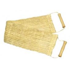Мочалка широкая из сизаля мелкой вязки с деревянными ручками 0102