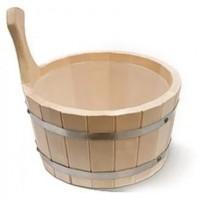 Ведро (ушат для бани) деревянное с пластиковой вставкой 4 л ПЛ11