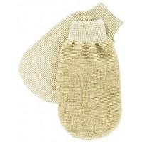 Мочалка - варежка массажная cредней жесткости одна сторона- лен, другая- бамбук №413 (Германия)