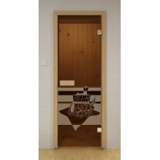 """Двери с матировкой """"Банный день""""(Бронза/Серая/Синяя).Габариты по коробке 690х1890 мм."""